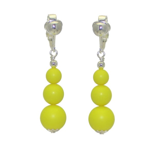 NEON YELLOW Silver Plated Clip On Earrings
