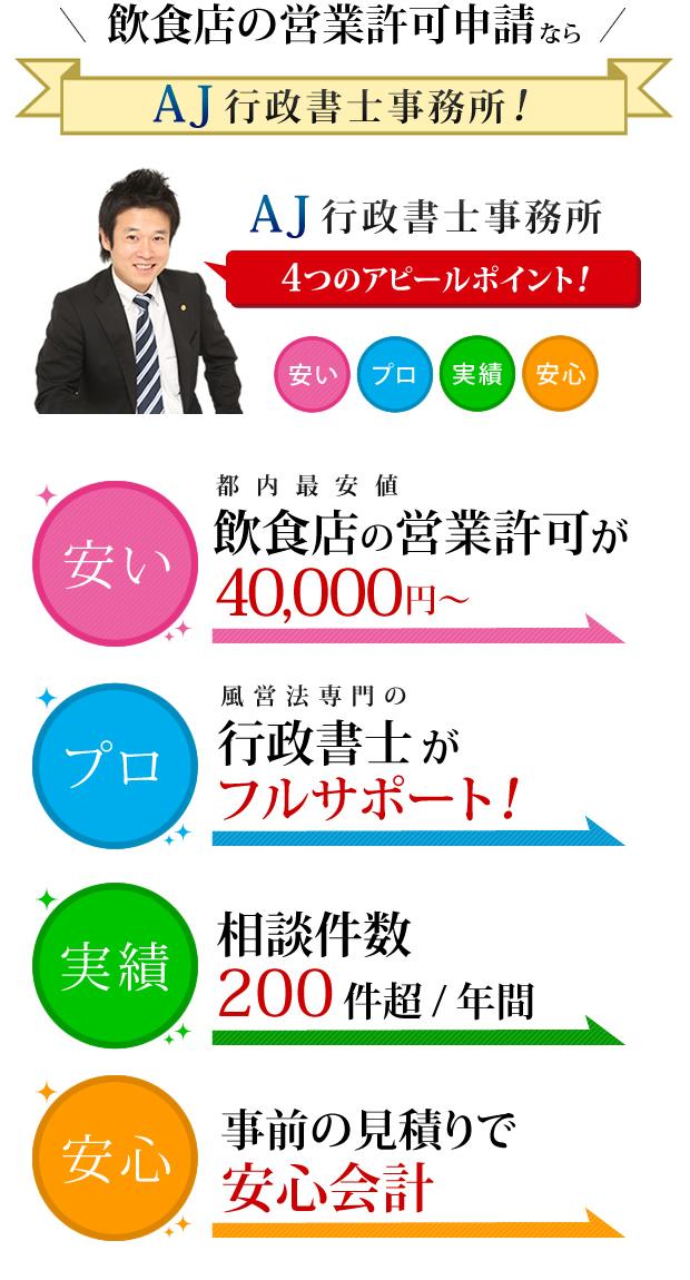 飲食店の営業許可申請が40,000円~
