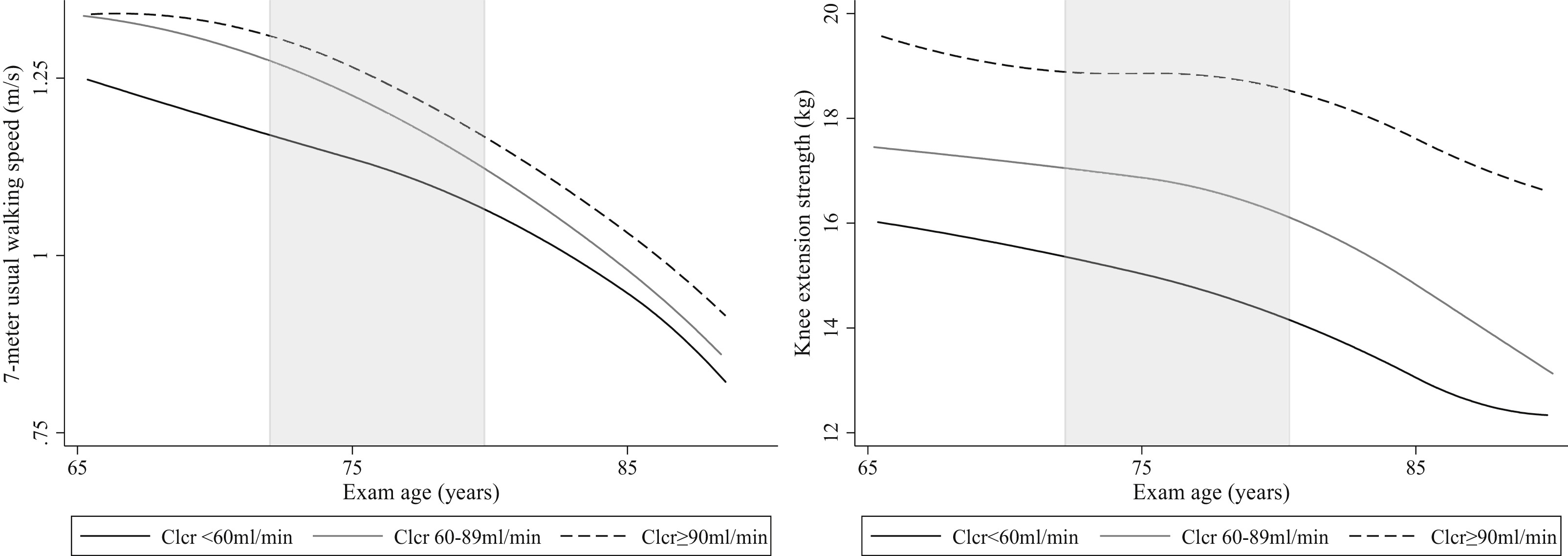 Creatinine Clearance, Walking Speed, and Muscle Atrophy: A