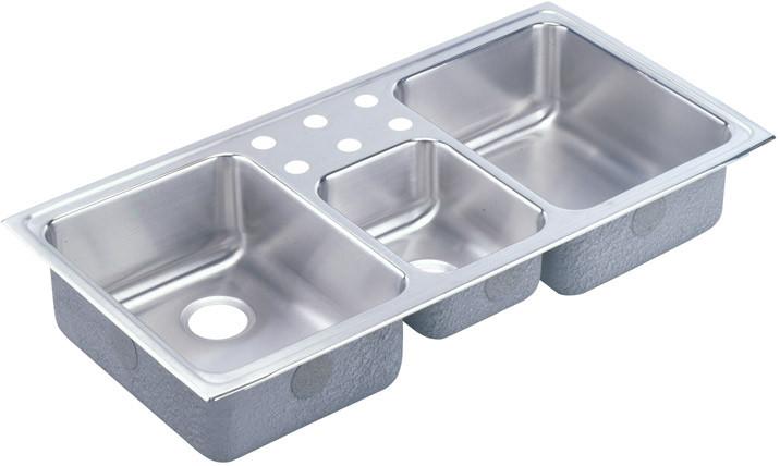 elkay lustertone collection 43 inch top mount triple bowl stainless steel sink