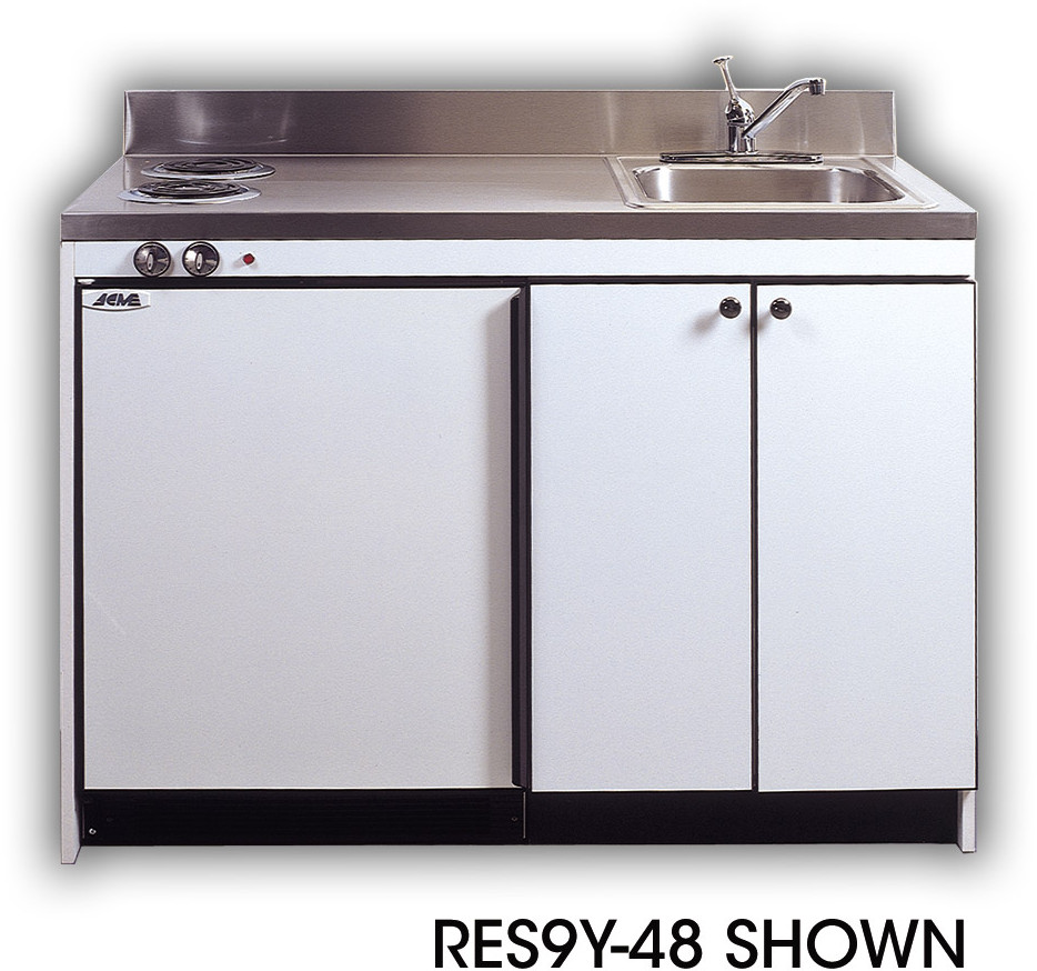 compact kitchen sink touch on faucet acme res9y42 with refrigerator and optional electric burners 42 inch width