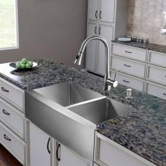 36 Inch Kitchen Sink Home Depot Light Fixtures Vigo Industries Vg15271 Farmhouse Stainless Steel Double Bowl With 9 7 8 Depths 16 Gauge Faucet Set