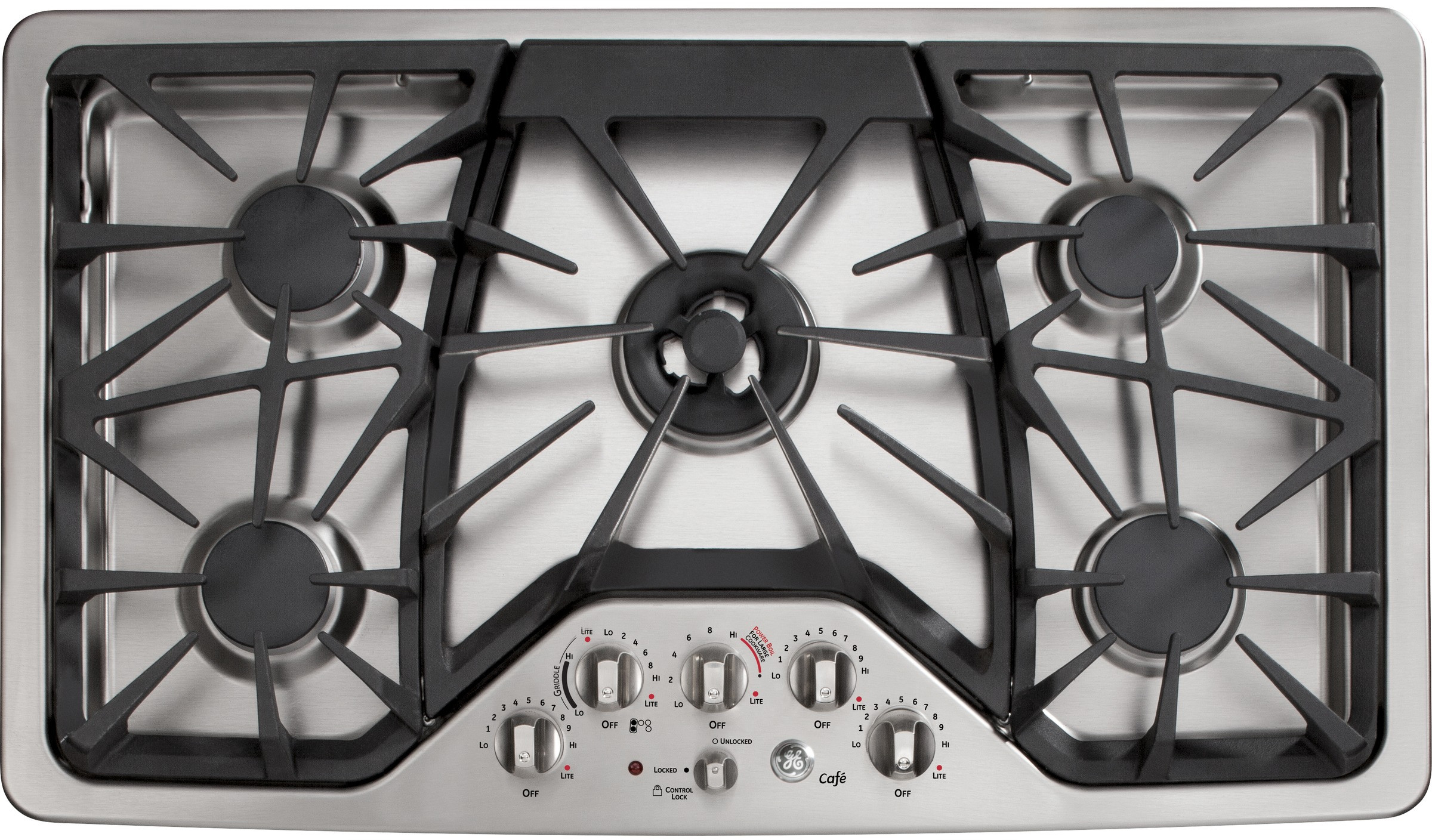 kitchen stove tops paint colors for small kitchens ge cgp650setss 36 inch gas cooktop with griddle accessory precise cafe series