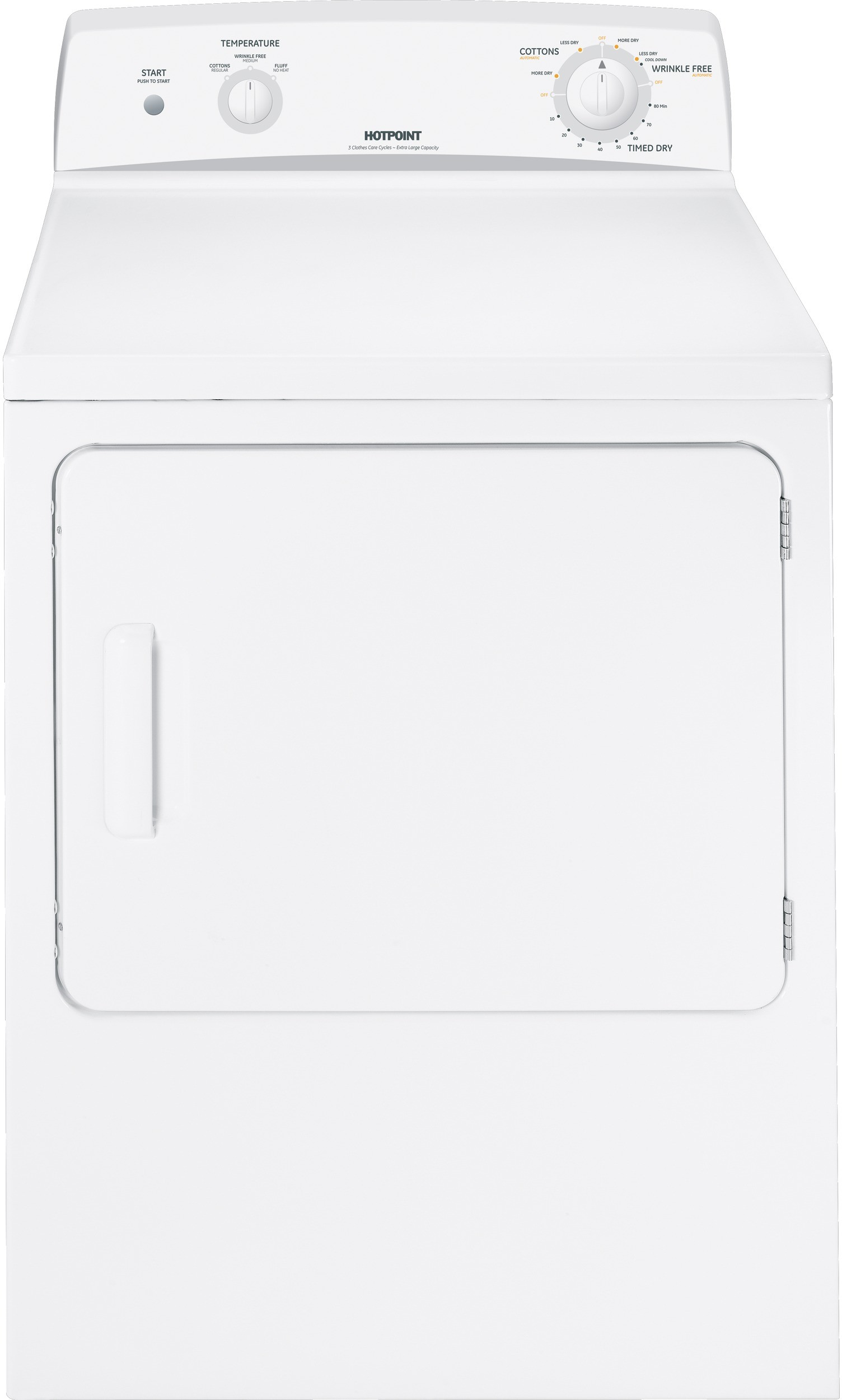 Hotpoint Htdx100emww 27 Inch Electric Dryer With 6 0 Cu Ft Capacity 3 Drying Cycles 3 Heat