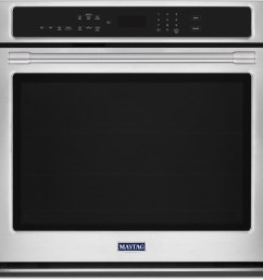 maytag mew9527fz 27 inch electric wall oven with 5 0 cu ft capacity fingerprint resistant stainless steel true convection with fan and 3rd element  [ 2200 x 2099 Pixel ]