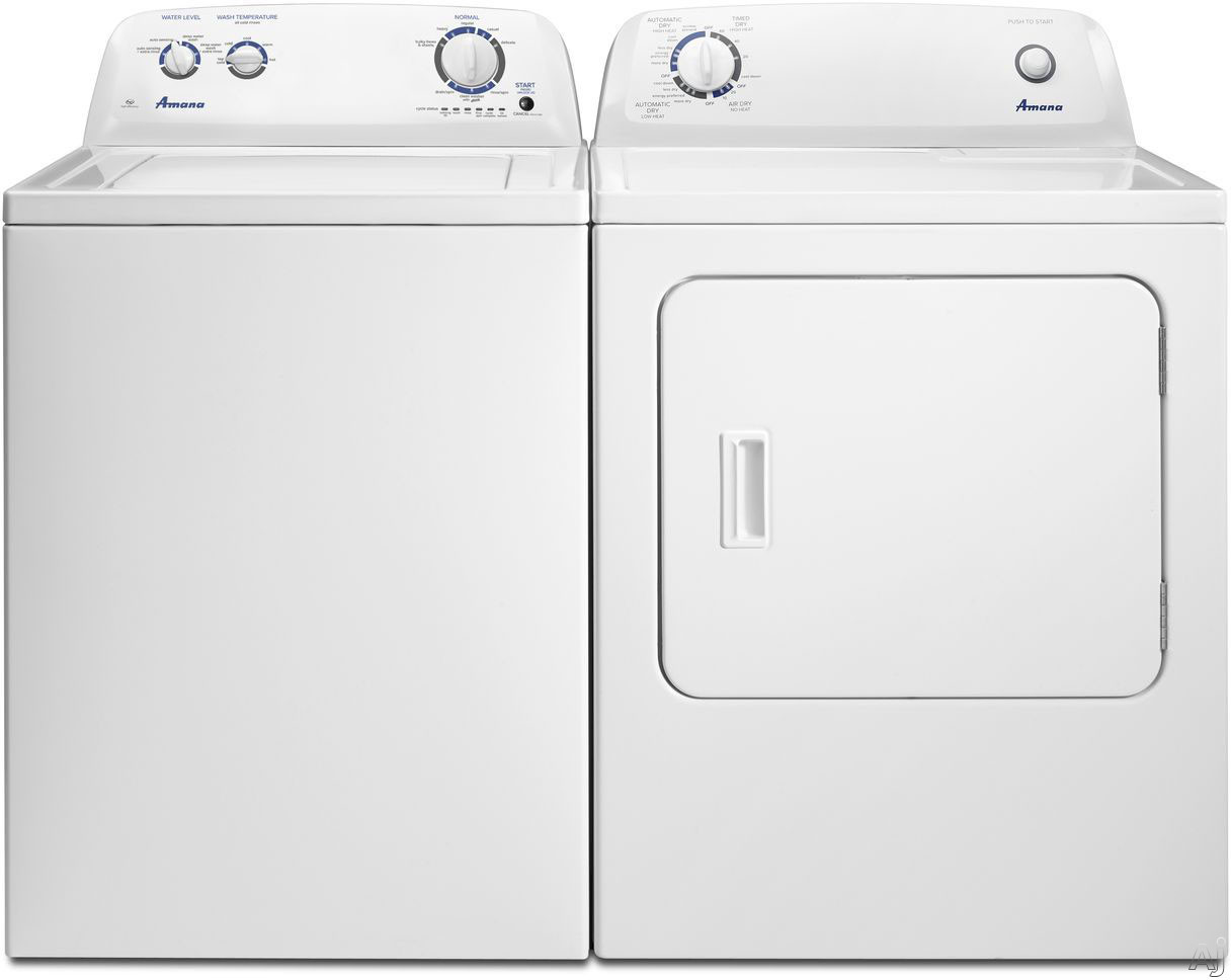 Amana Amwadrgw1 Side By Side Washer Dryer Set With Top Load Washer And Gas Dryer In White