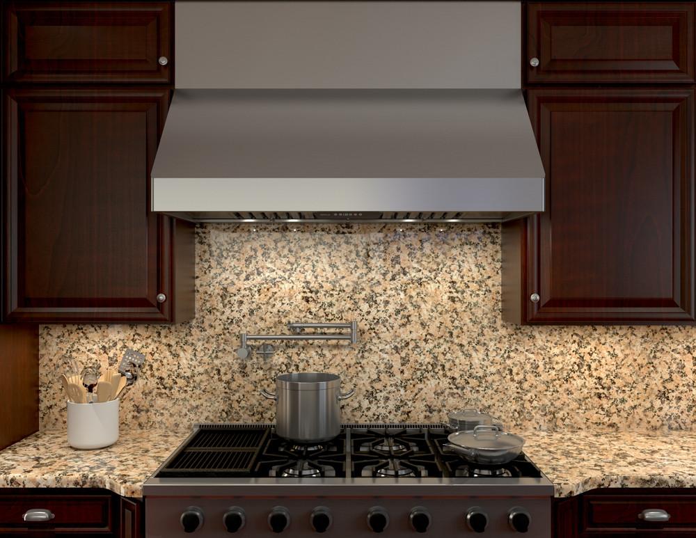 zephyr kitchen island with stainless steel top range hoods