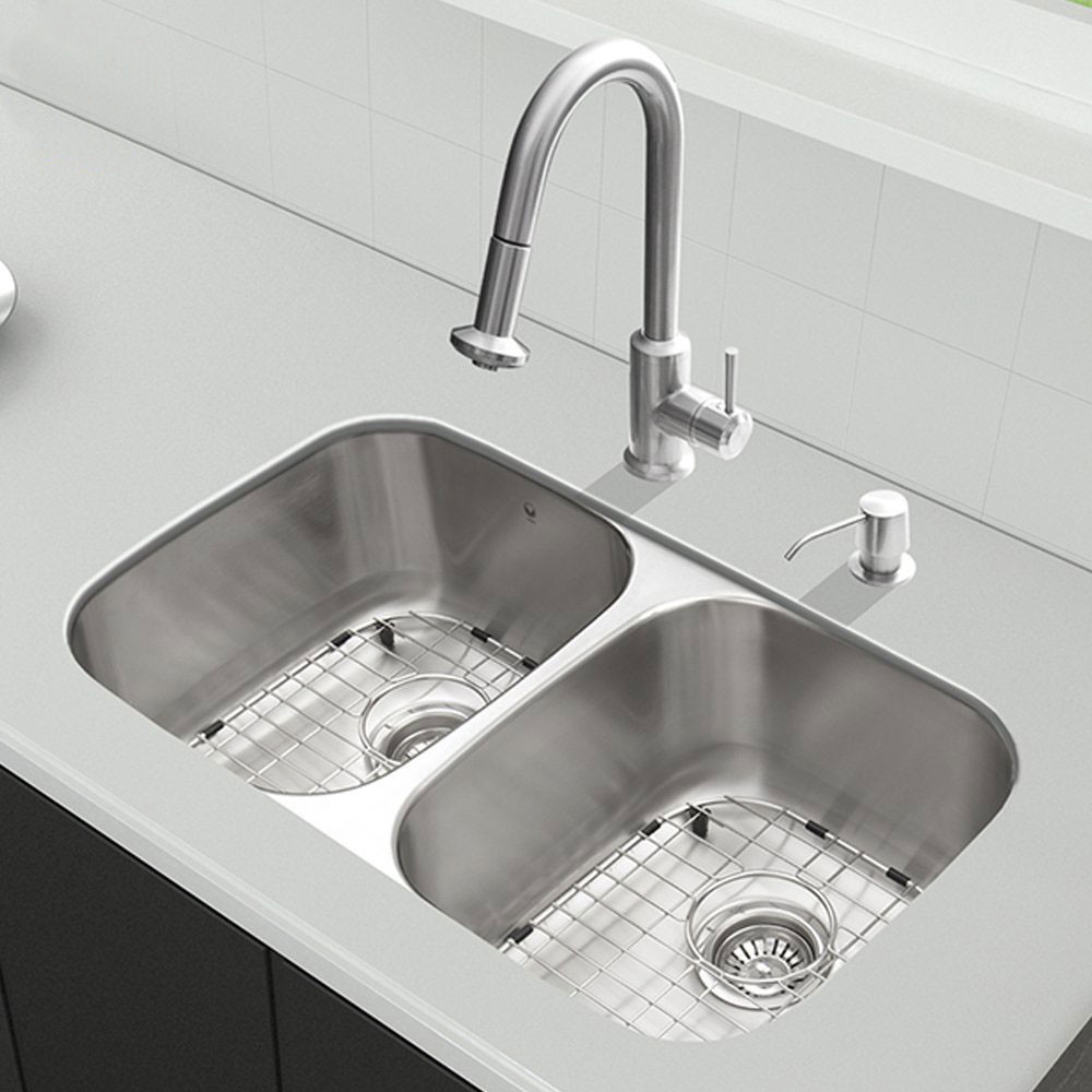 vigo kitchen faucet how to remodel your industries vg15339 32 inch all in one undermount sink and set with 9 bowl depth 18 gauge pull out 2 stainless steel