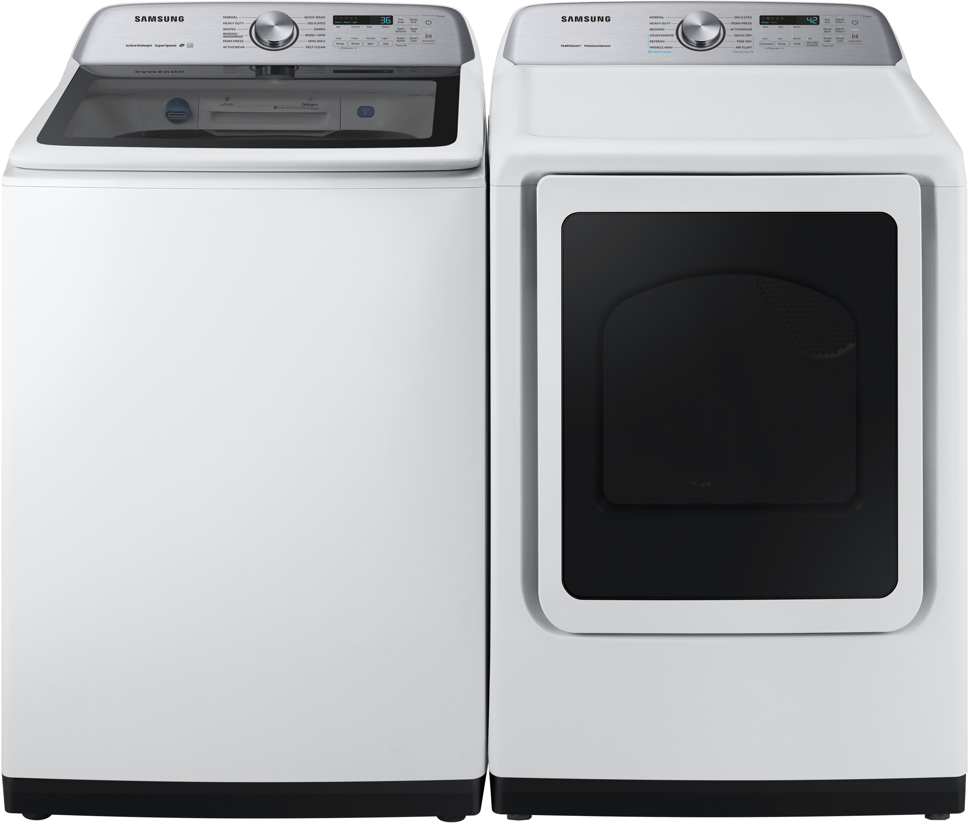 Samsung Sawadrew54001 Side By Side Washer Dryer Set With Top Load Washer And Electric Dryer In White