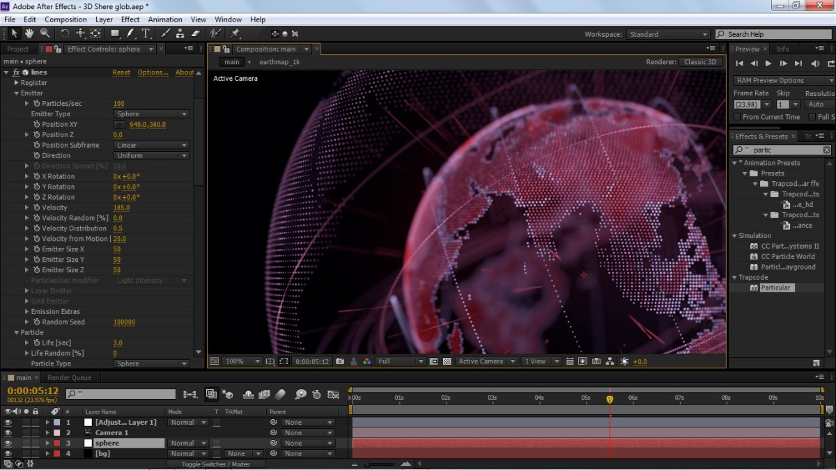 3D Glob All Built In After Effect. With Form.