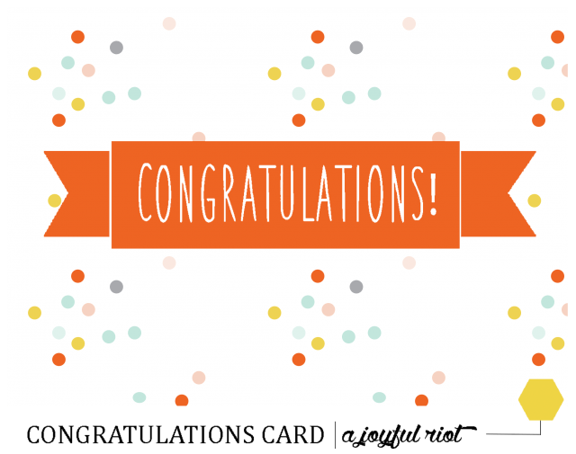 image regarding Free Printable Congratulations Cards named Congratulations Card Absolutely free Printable Friday A Satisfied Rebel