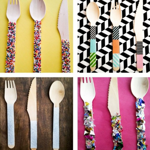 Wood Party Utensils Four Ways