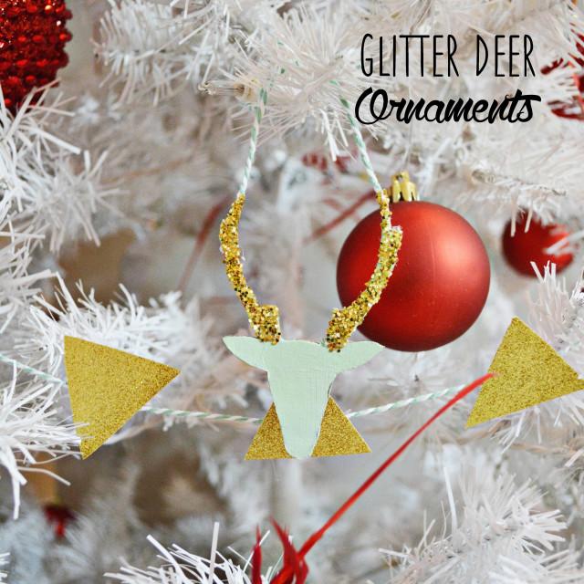 glitter deer ornamnets