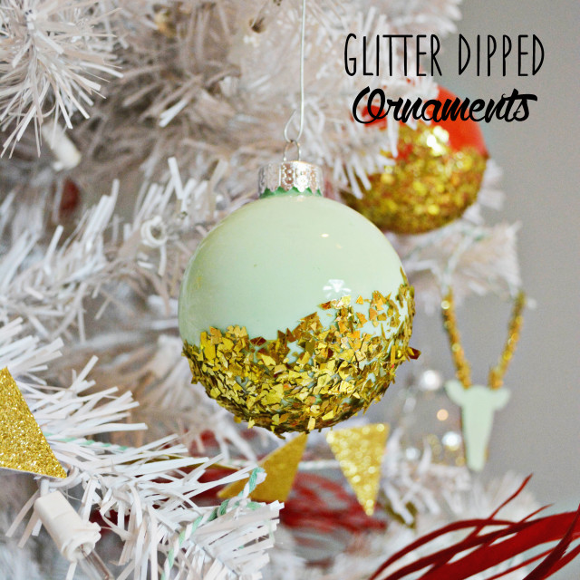 glitter dipped ornaments