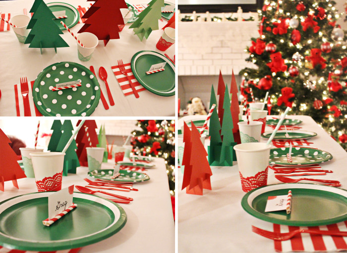 Playful throw a way party for Christmas Even. Cute paper tree forest, doily cups and paper straw placecards from A Joyful Riot