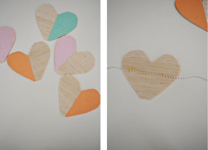 wood heart garland steps3