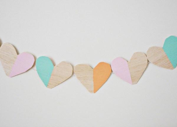 Wood Blocked Heart Garland