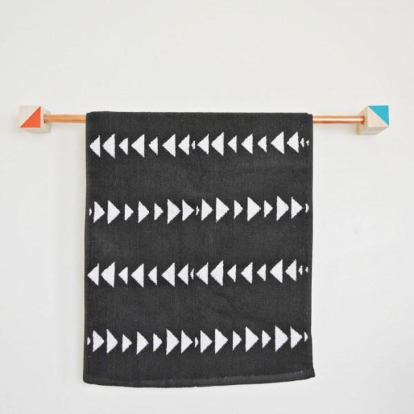 Wood + Copper Towel Rack