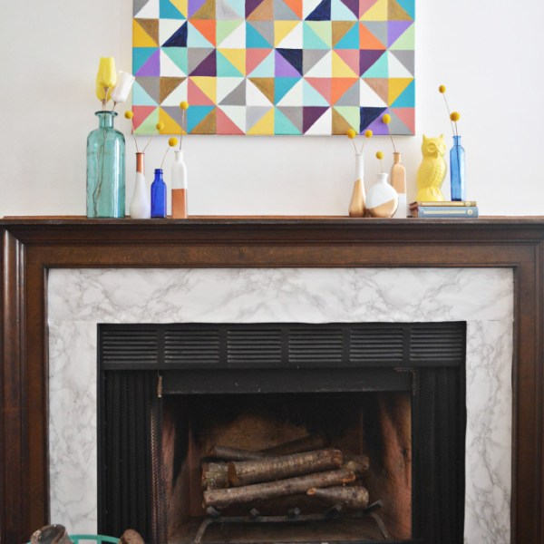 $15 Marble Fireplace Makeover