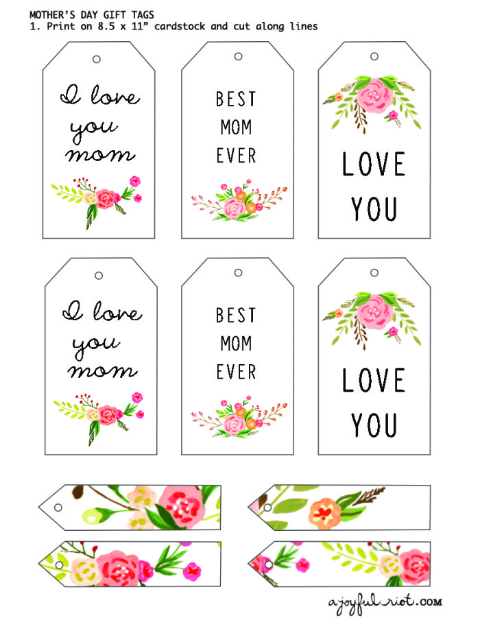 picture about Free Printable Mothers Day Tags titled Moms Working day Reward Tags Free of charge Printable Friday A Happy Insurrection