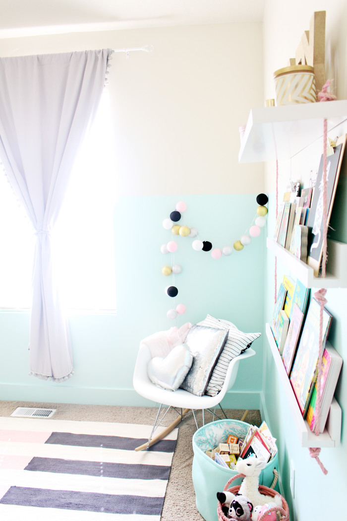 pink, mint, black, white, cream, gold and silver baby girl's nursery | A Joyful Riot