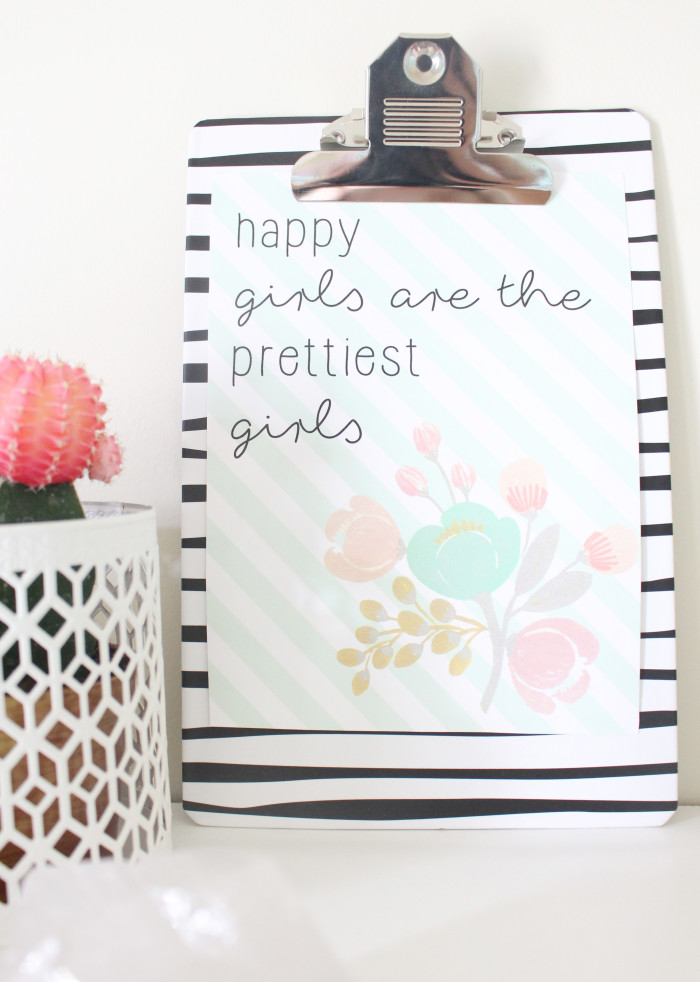 happy girls are the prettiest girls audrey hepburn free printable in 4 sizes | A Joyful Riot