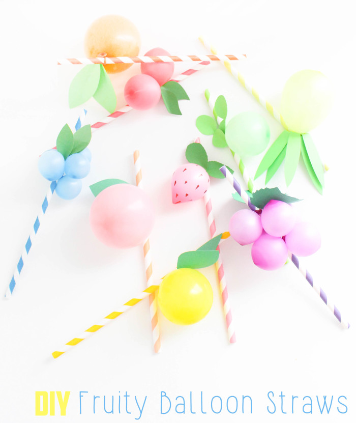 Sweet and colorful fruit balloon straws for your summer parties! Lemons, limes, pineapples, strawberries, cherries, peach, orange, grapes, blueberries! via A Joyful Riot-49