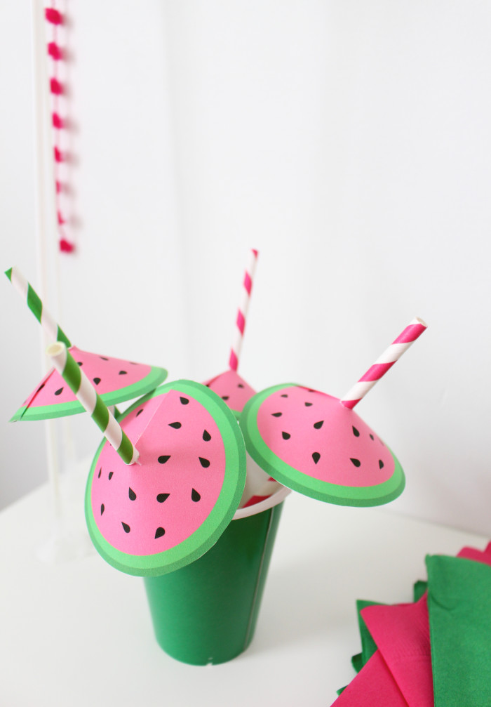 Free printable straw umbrellas that look like little watermelons! The cutest straw decor ever. | A Joyful Riot