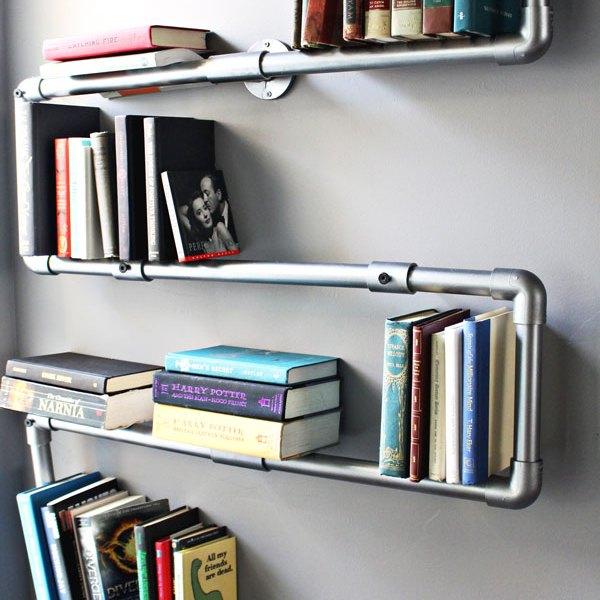 Faux Galvanized Pipe Bookshelf