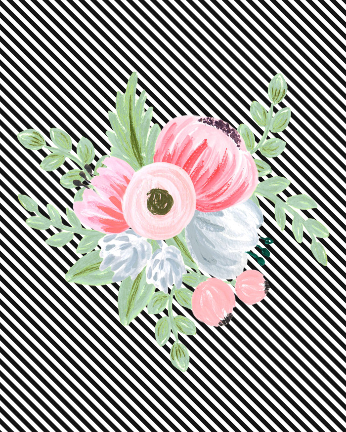 Free printable vintage floral bouquet on a black and white stripe background | A Joyful Riot