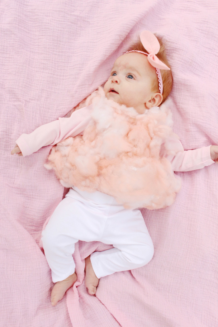 DIY baby cotton candy costume for the sweetest first Halloween ever ajoyfulriot.com @ajoyfulriot 4