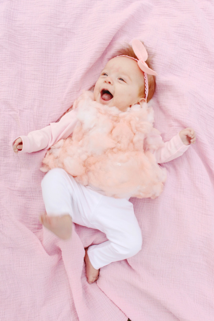 DIY baby cotton candy costume for the sweetest first Halloween ever ajoyfulriot.com @ajoyfulriot 8