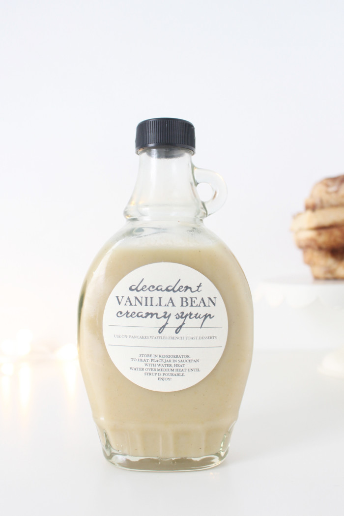 Vanilla Bean Ice Cream Syrup. The most decadent syrup ever, perfect for neighbor Christmas gifts with free printable tags and labels ajoyfulriot.com @ajoyfulriot