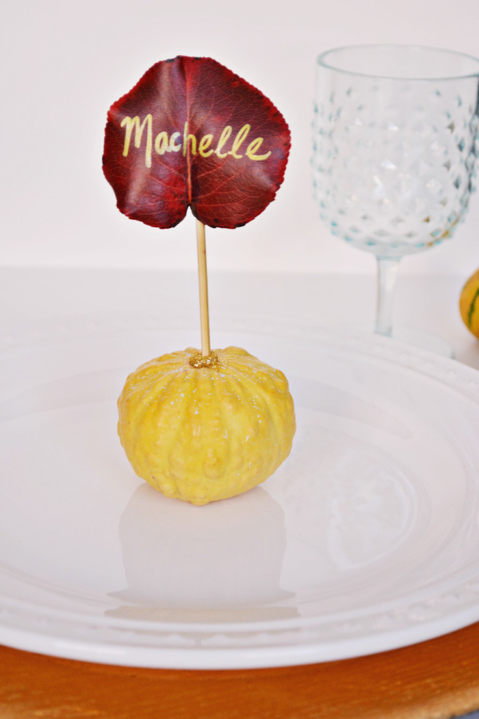DIY Mini Gourd and Leaf Place Cards @ajoyfulriot