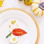 Simple Leaf Napkin Rings + Place Cards