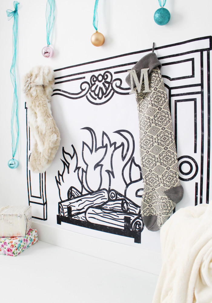 DIY printed faux fireplace with free printable fireplace sketch via ajoyfulriot.com @ajoyfulriot