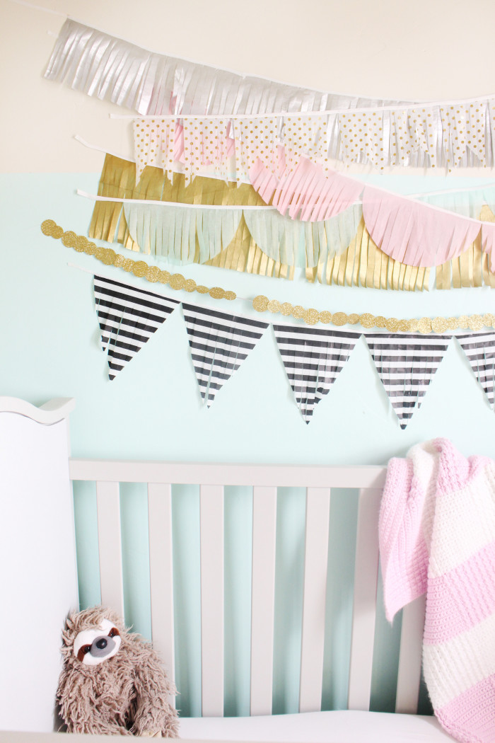 mint, pink, black, gold and silver nursery 12