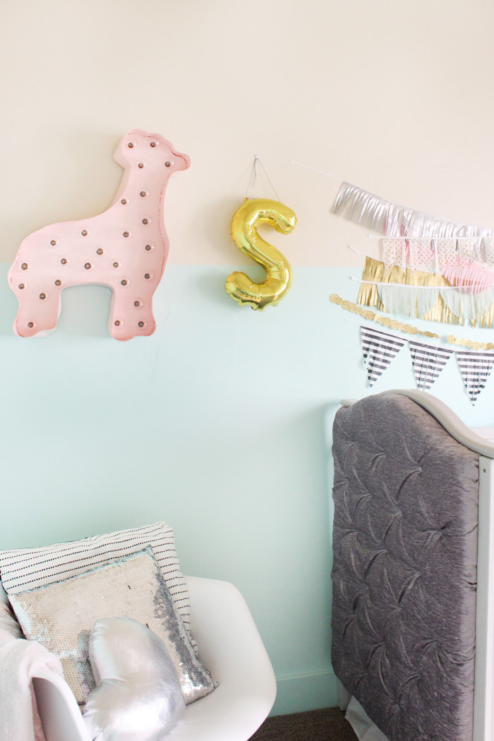 mint, pink, black, gold and silver nursery 14