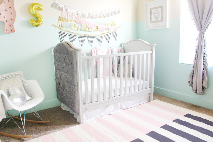 mint, pink, black, gold and silver nursery 21
