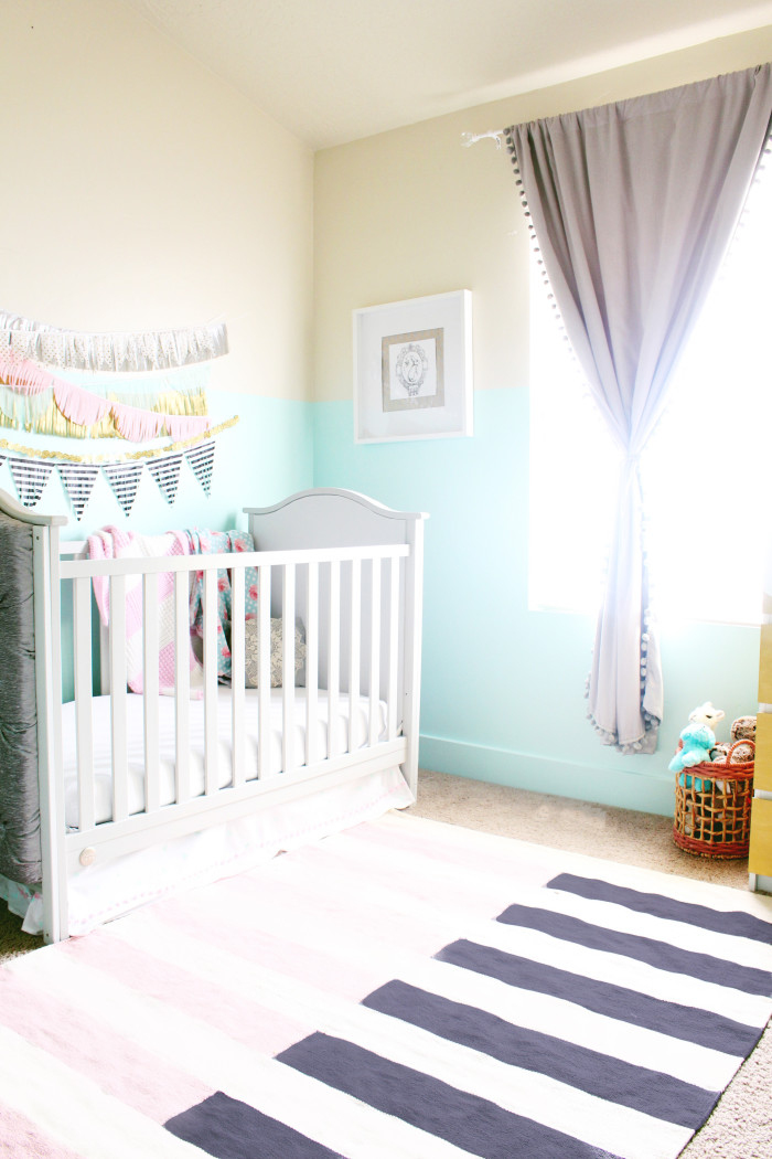 mint, pink, black, gold and silver nursery 5