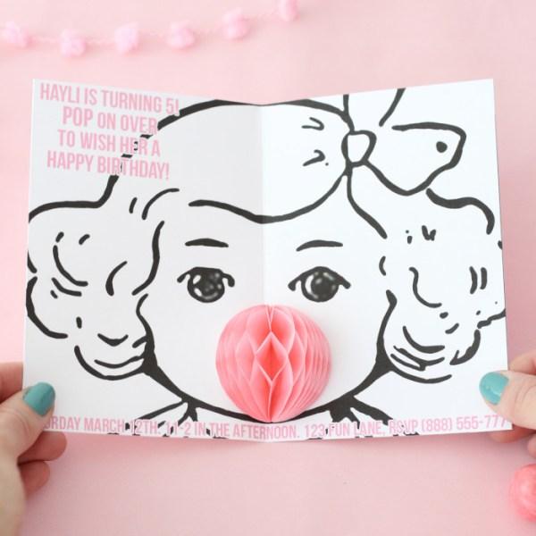 DIY Bubblegum Popup Invitations