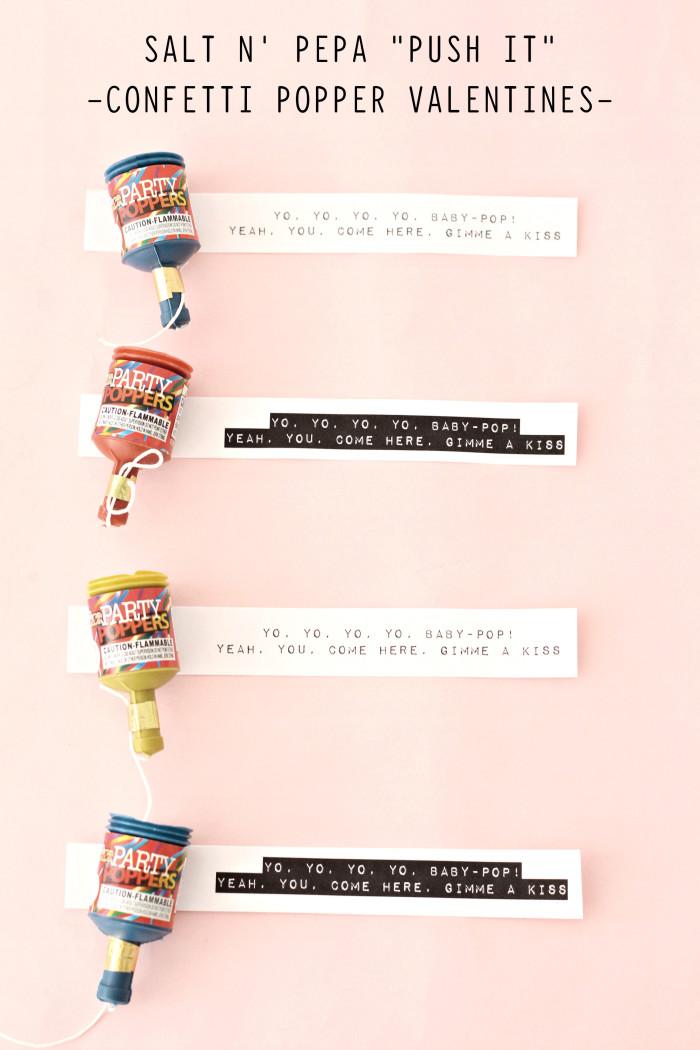 "90's Inspired Valentines, free printable Salt N Pepa ""Push It"" party popper non-candy Valentines ajoyfulriot.com @ajoyfulriot"