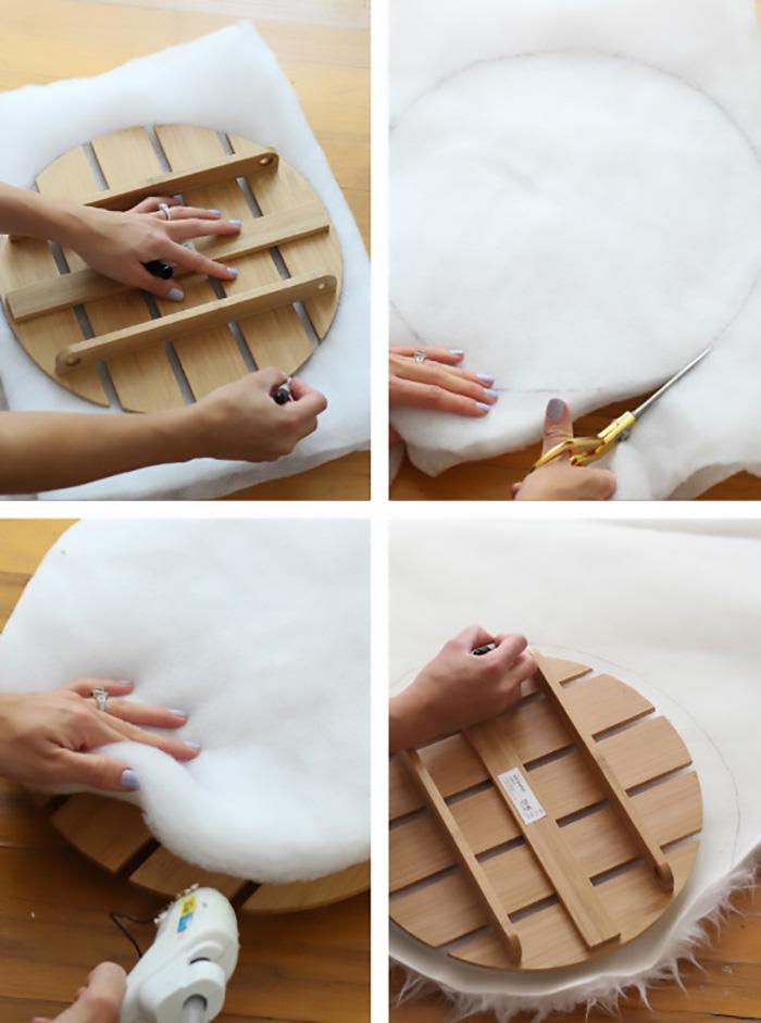 Ikea hack furry foot stool ottoman 8