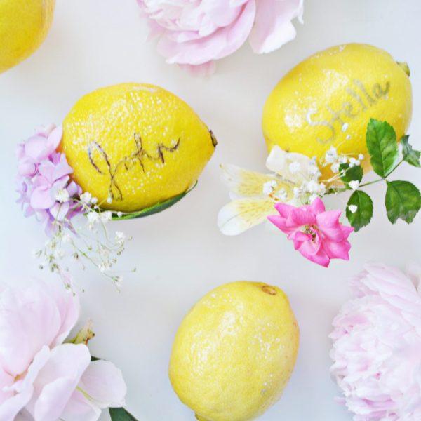 Floral Lemon Name Cards