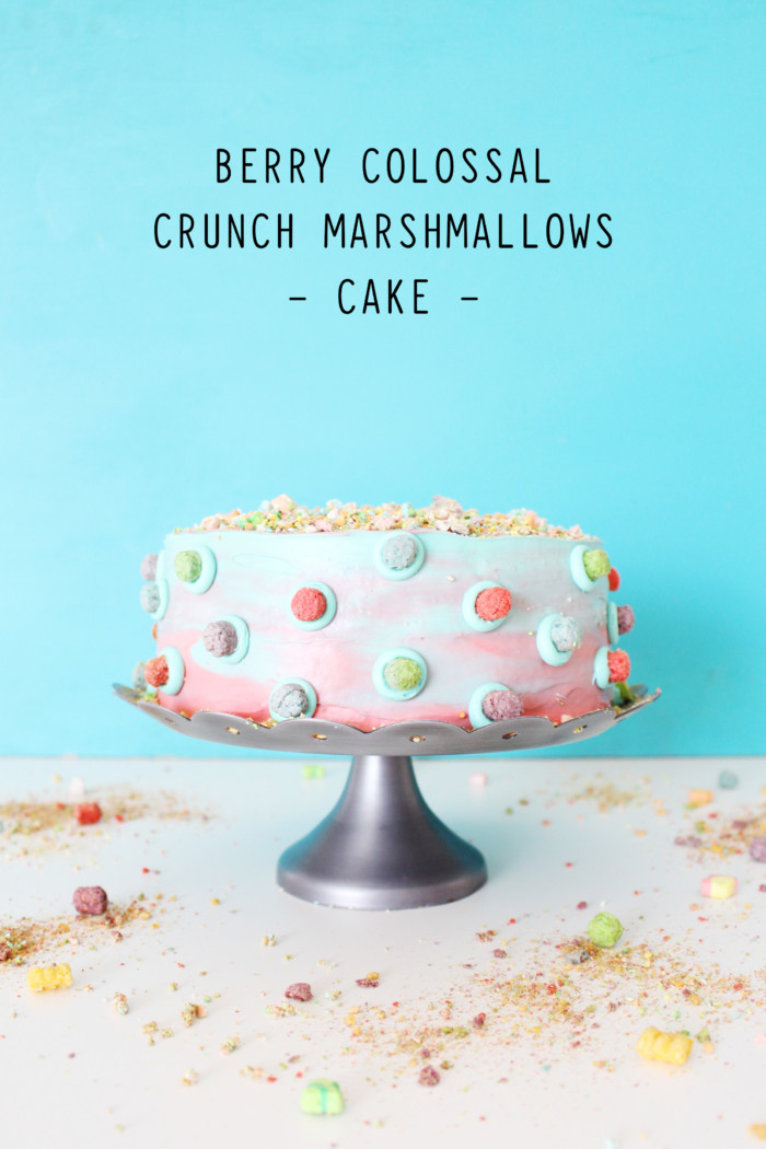 Berry Colossal Crunch Cake with Marshmallowsand Marbled frosting
