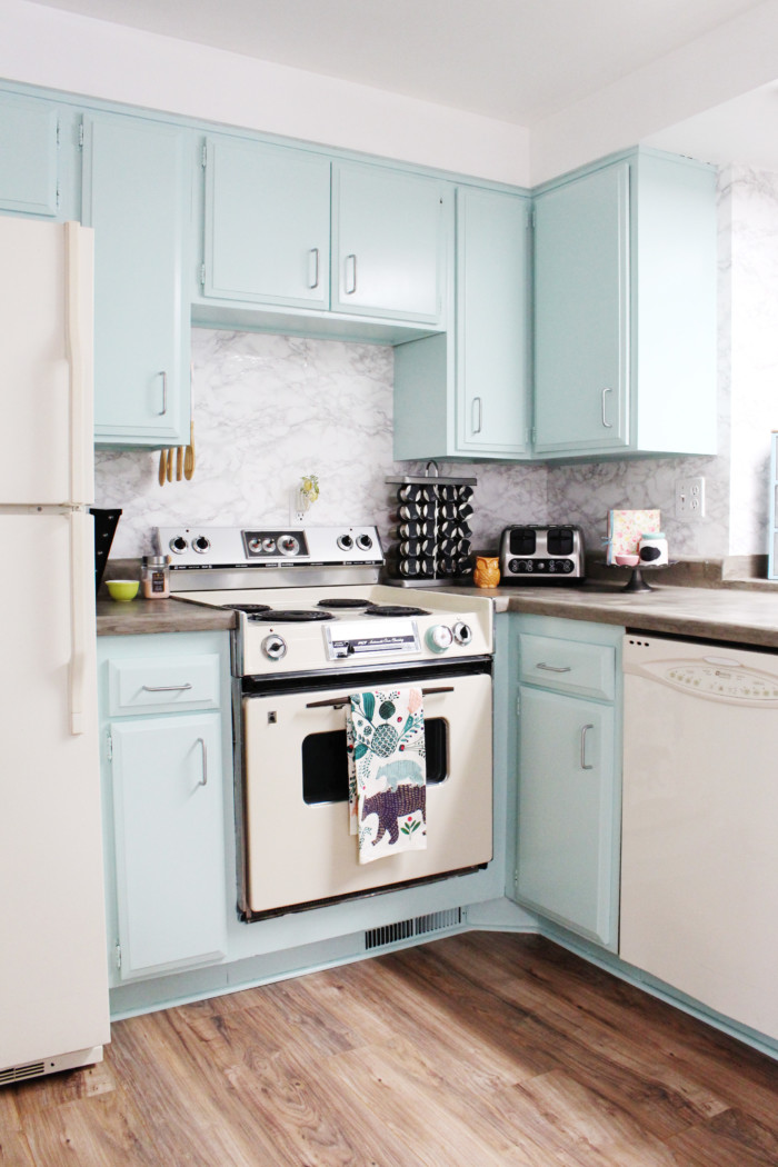 A DIY Kitchen Remodel Featuring Mint Cabinets, Concrete Countertops And  Colorful Accents. Whole Kitchen