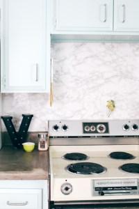 DIY Marble Contact Paper Backsplash | A Joyful Riot