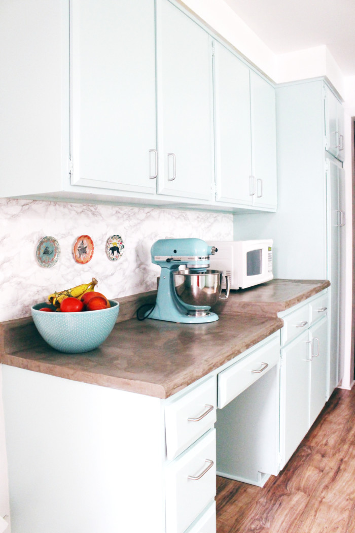 DIY Marble Contact Paper Backsplash