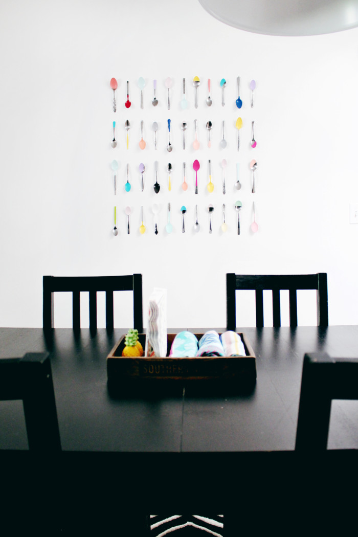 Colorful kitchen wall art using spoons and a little bit of paint! Cheap and easy! via ajoyfulriot.com