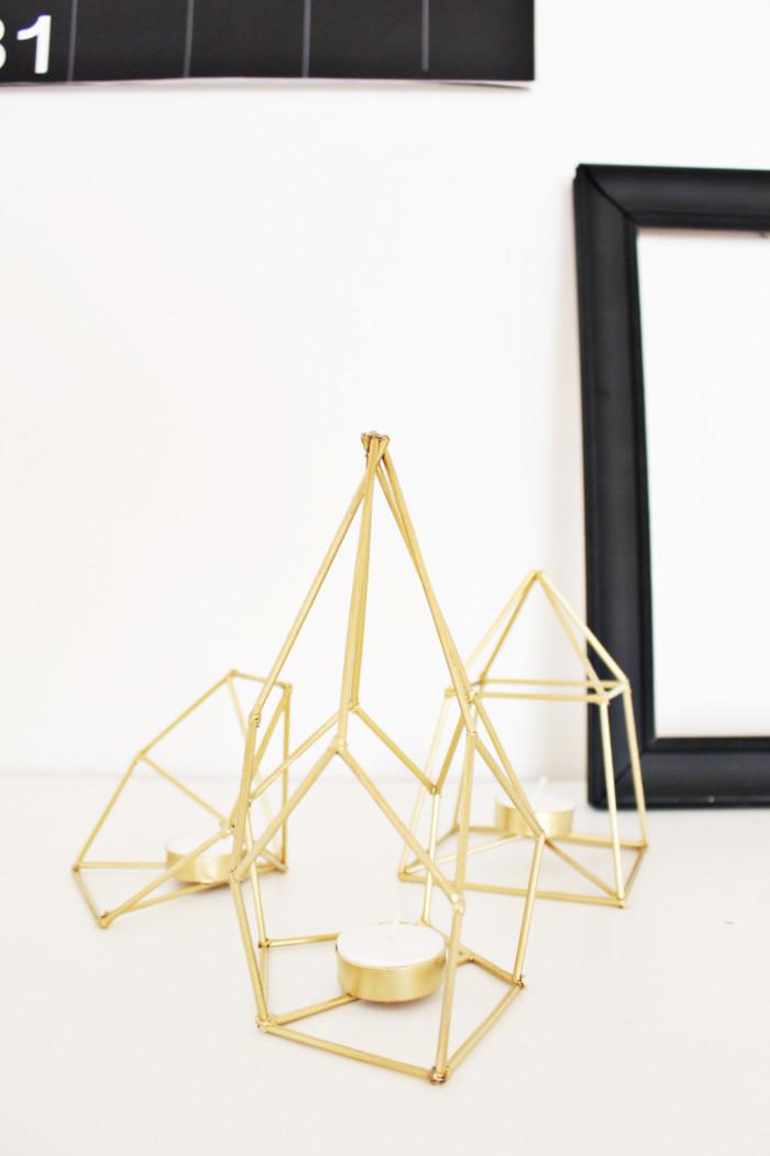 diy metallic geometric candle holders make from skewers! via ajoyfulriot.com